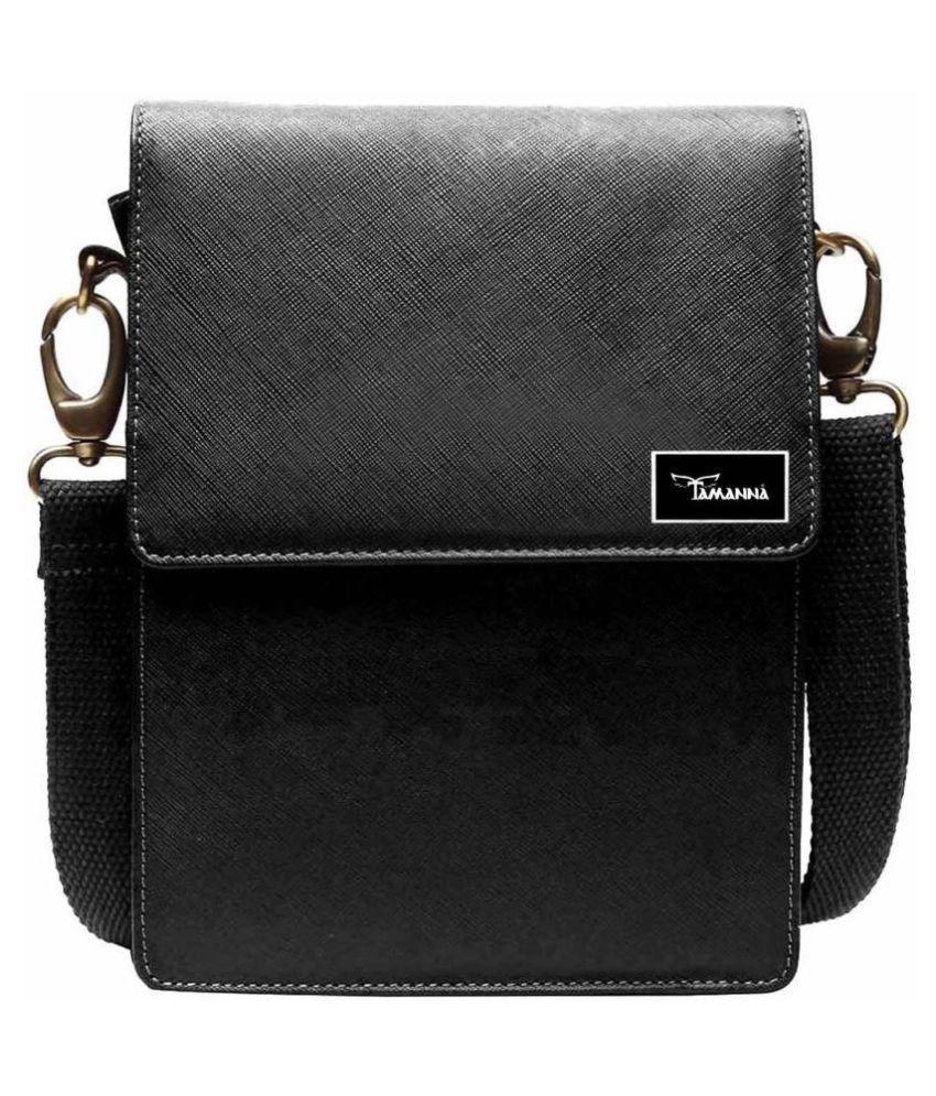 Tamanna LSBU5-TM_5 Black Leather Casual Messenger Bag