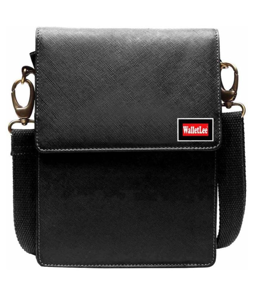 WalletLee LSBU5-WL_7 Black Leather Casual Messenger Bag
