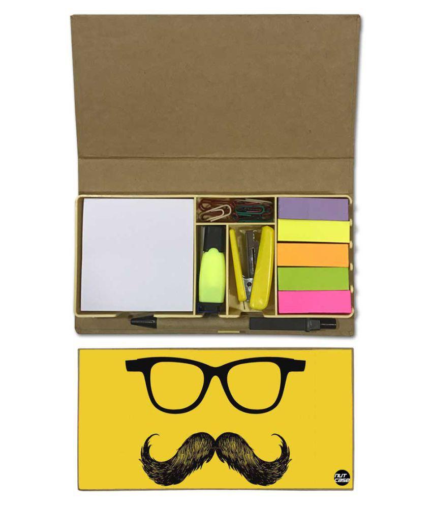 Nutcase Designer Stationary Kit Desk Customised Organizer Memo Notepad - Mustache And Shades