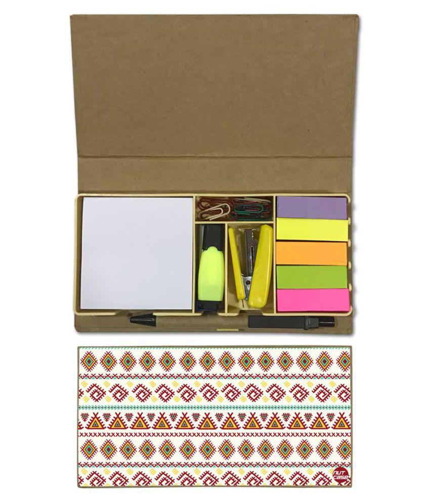 Nutcase Designer Stationary Kit Desk Customised Organizer Memo Notepad - Beautiful Geometric Design