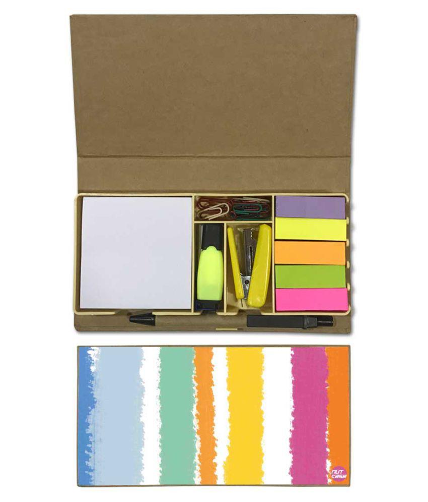 Nutcase Designer Stationary Kit Desk Customised Organizer Memo Notepad - Colorful Strips