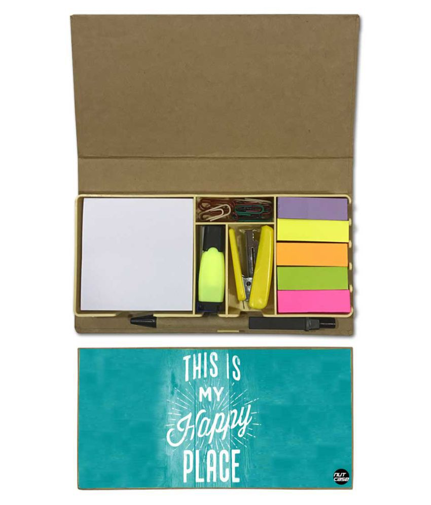 Nutcase Designer Stationary Kit Desk Customised Organizer Memo Notepad - This is My Happy Place
