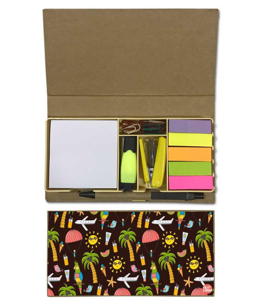 Nutcase Designer Stationary Kit Desk Customised Organizer Memo Notepad - Summer Adventure