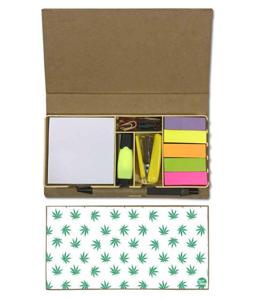 Nutcase Designer Stationary Kit Desk Customised Organizer Memo Notepad - Green Leaf