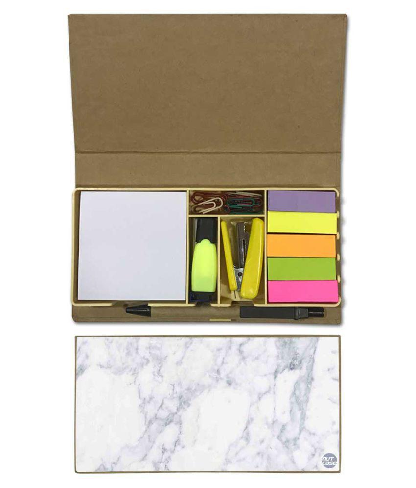 Nutcase Designer Stationary Kit Desk Customised Organizer Memo Notepad - Marble White
