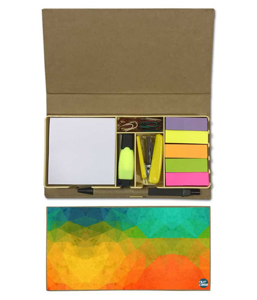 Nutcase Designer Stationary Kit Desk Customised Organizer Memo Notepad - Green And Orange