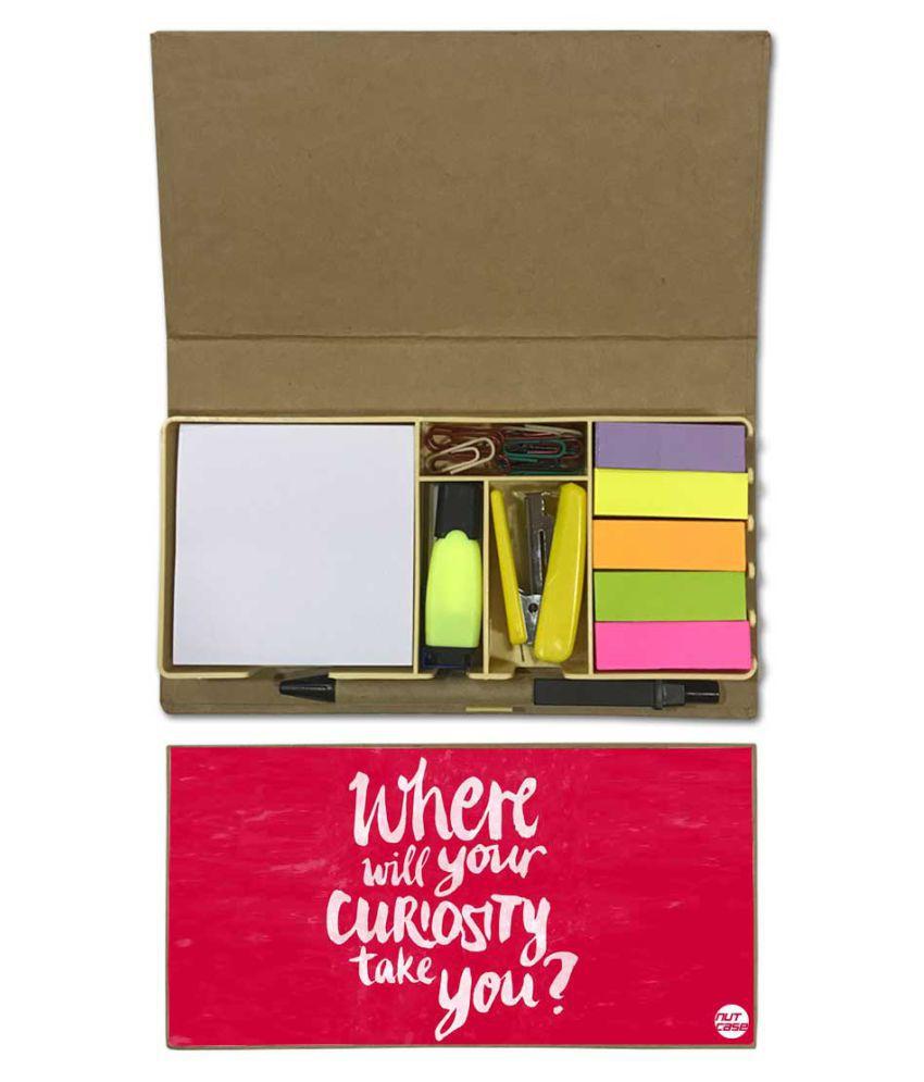 Nutcase Designer Stationary Kit Desk Customised Organizer Memo Notepad - Where Will Your Curiosity take You