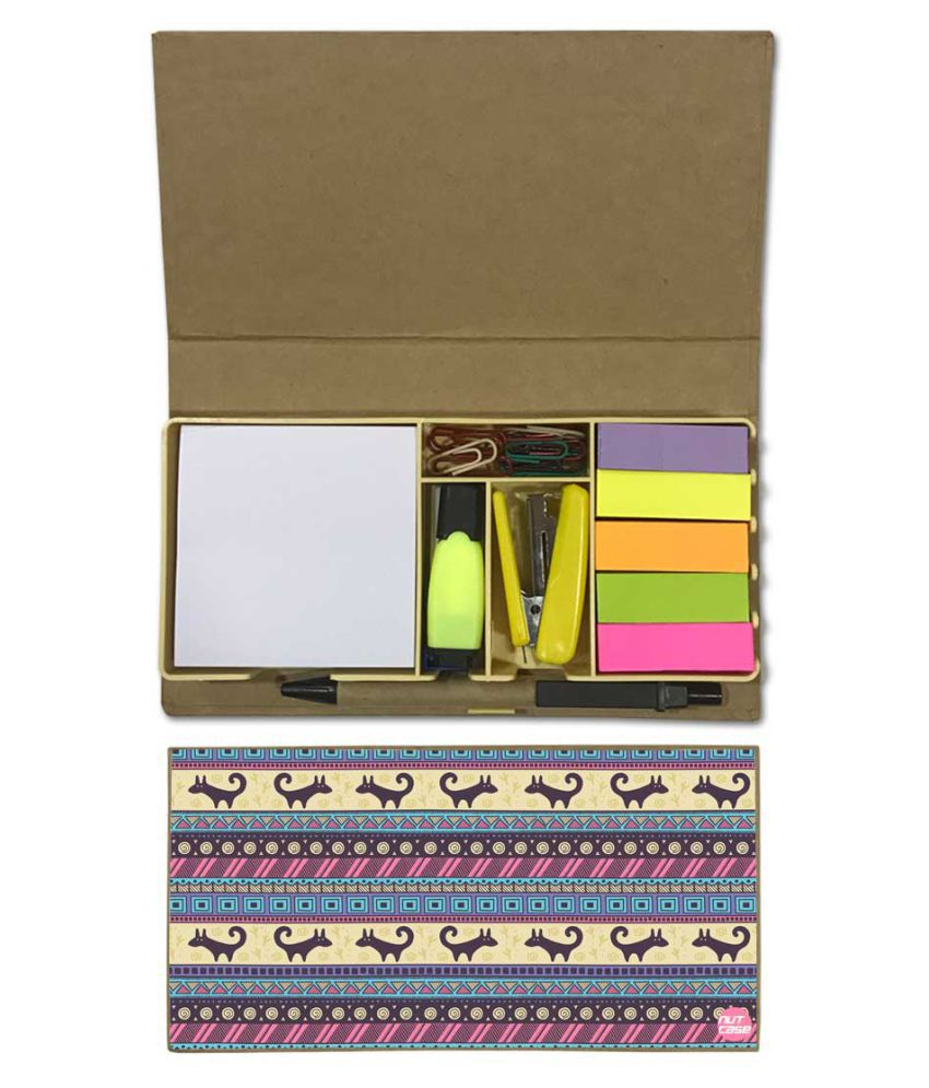 Nutcase Designer Stationary Kit Desk Customised Organizer Memo Notepad - Vintage Design