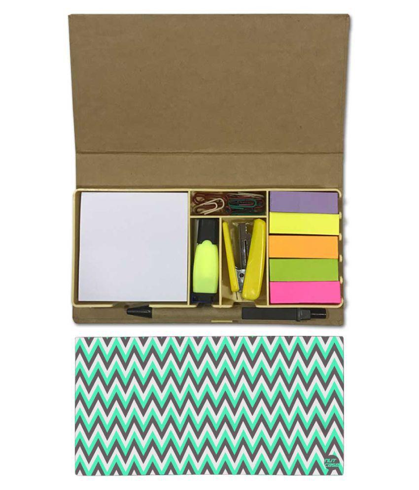 Nutcase Designer Stationary Kit Desk Customised Organizer Memo Notepad - Green And Grey Strips