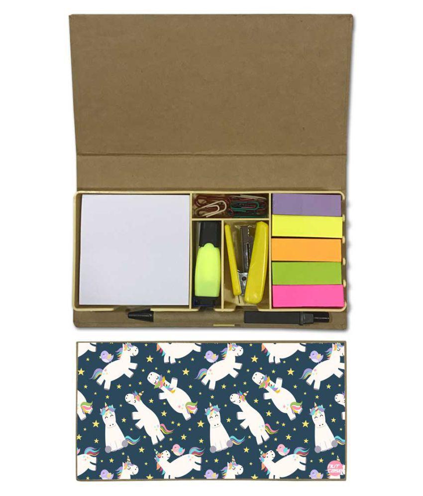 Nutcase Designer Stationary Kit Desk Customised Organizer Memo Notepad - Unicorn