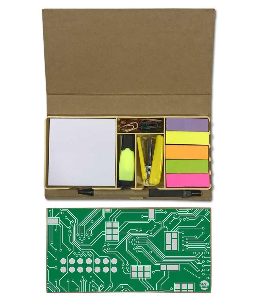 Nutcase Designer Stationary Kit Desk Customised Organizer Memo Notepad - Green Chip