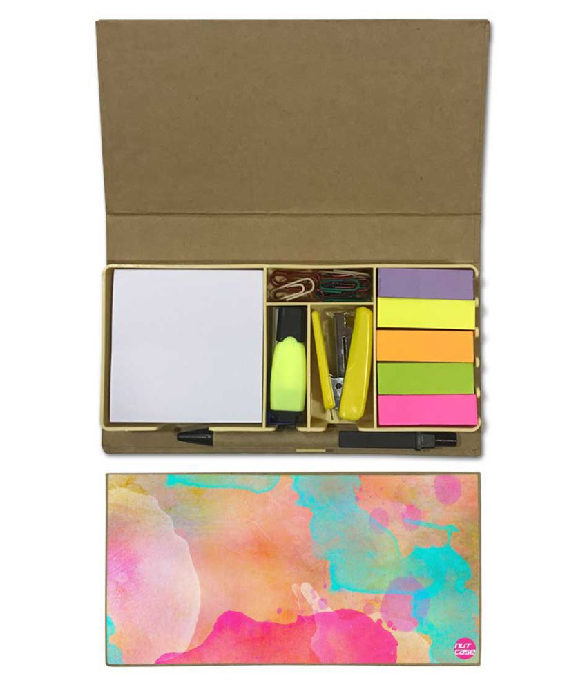 Nutcase Designer Stationary Kit Desk Customised Organizer Memo Notepad - Multi Water Color