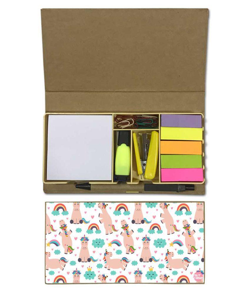 Nutcase Designer Stationary Kit Desk Customised Organizer Memo Notepad - Unicorn And Rainbow
