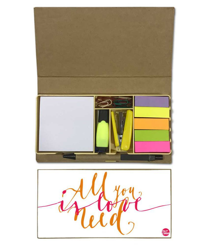 Nutcase Designer Stationary Kit Desk Customised Organizer Memo Notepad - All You Need Is Love