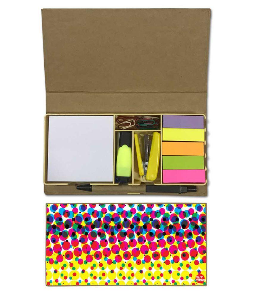 Nutcase Designer Stationary Kit Desk Customised Organizer Memo Notepad - Colorful Dots