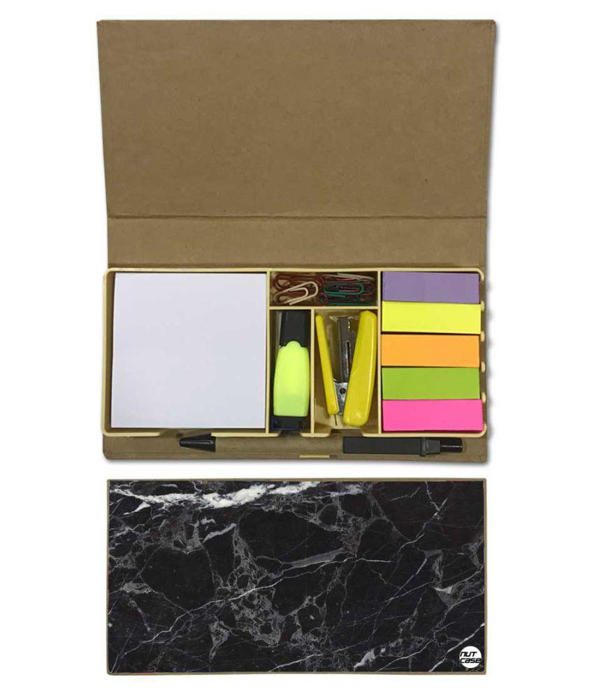 Nutcase Designer Stationary Kit Desk Customised Organizer Memo Notepad - Marble Black