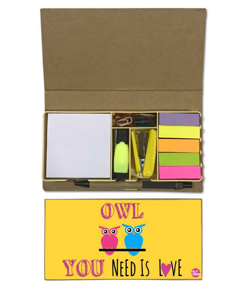 Nutcase Designer Stationary Kit Desk Customised Organizer Memo Notepad - Owl You Need Is Love