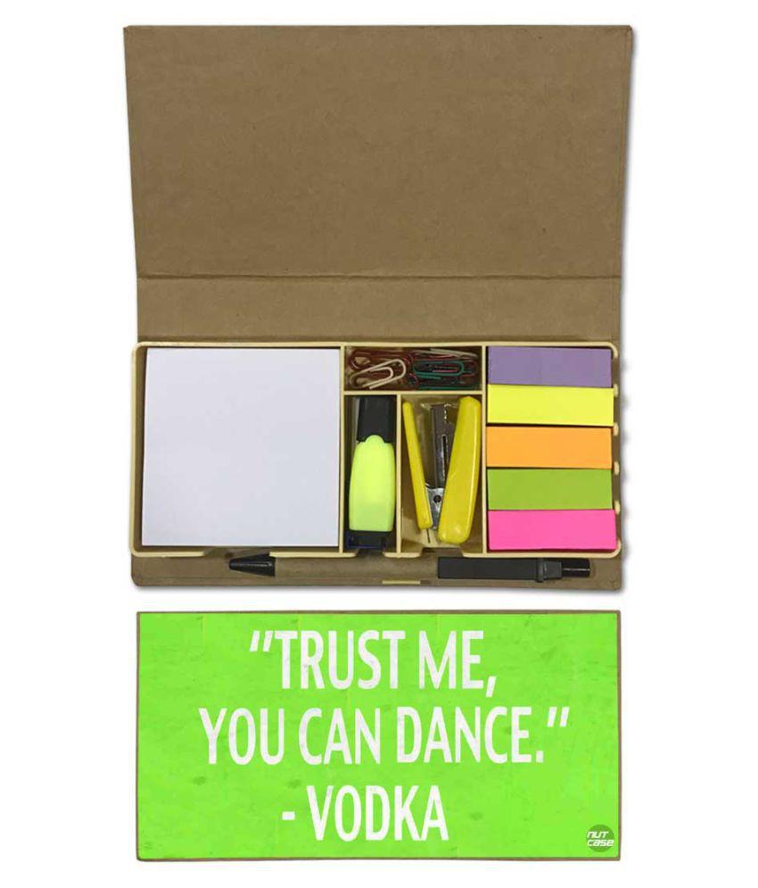 Nutcase Designer Stationary Kit Desk Customised Organizer Memo Notepad - trust Me You Can Dance