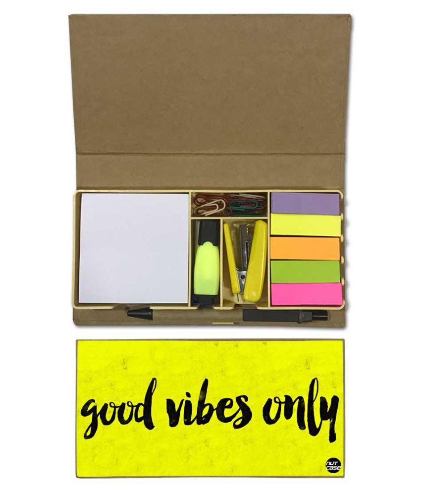 Nutcase Designer Stationary Kit Desk Customised Organizer Memo Notepad - Good Vibes Only