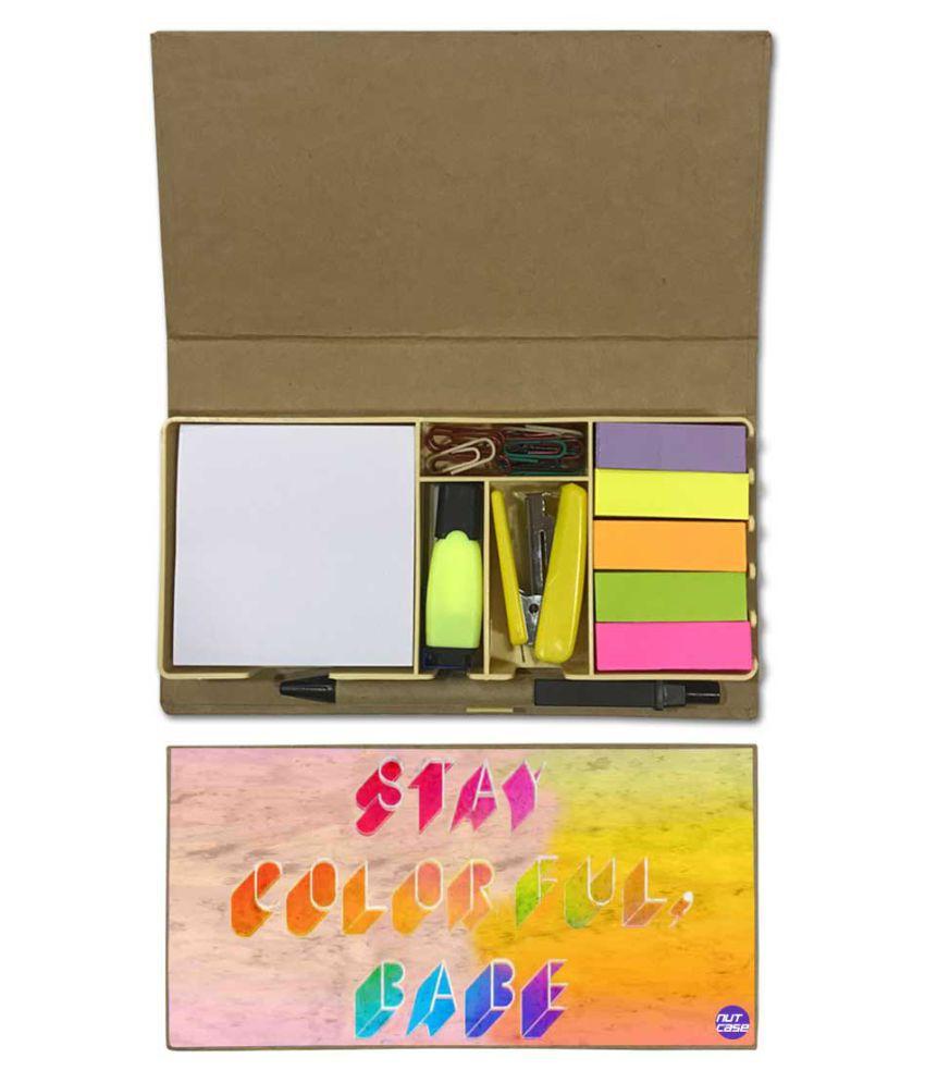 Nutcase Designer Stationary Kit Desk Customised Organizer Memo Notepad - Stay Colorful Babe