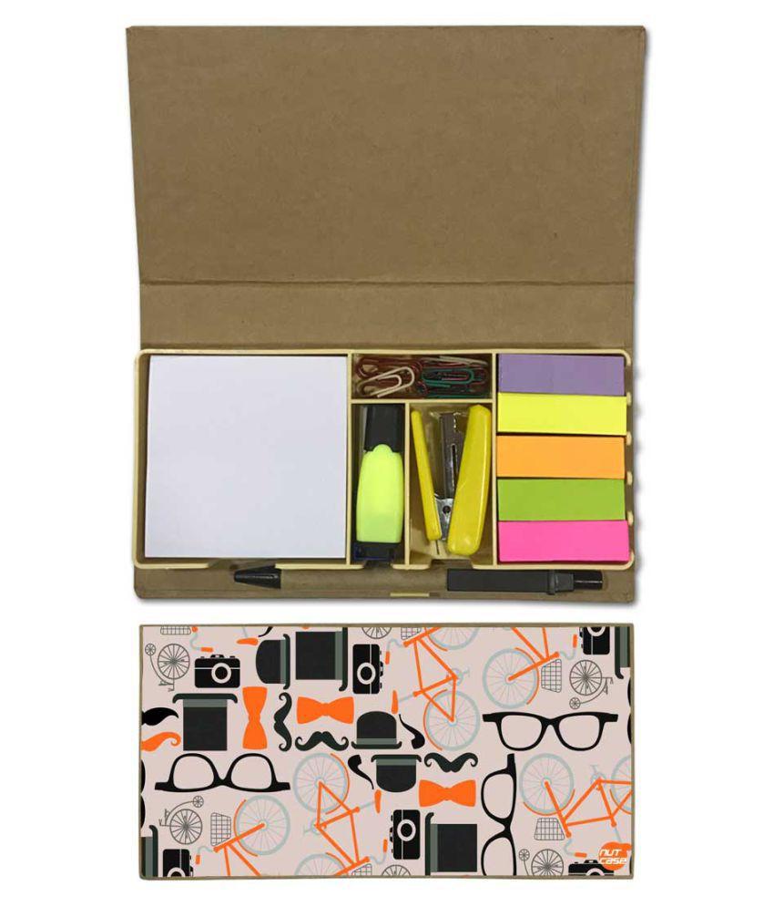 Nutcase Designer Stationary Kit Desk Customised Organizer Memo Notepad - Camera And Hat