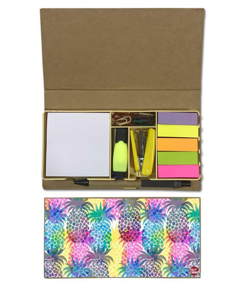 Nutcase Designer Stationary Kit Desk Customised Organizer Memo Notepad - Colorful Pineapples