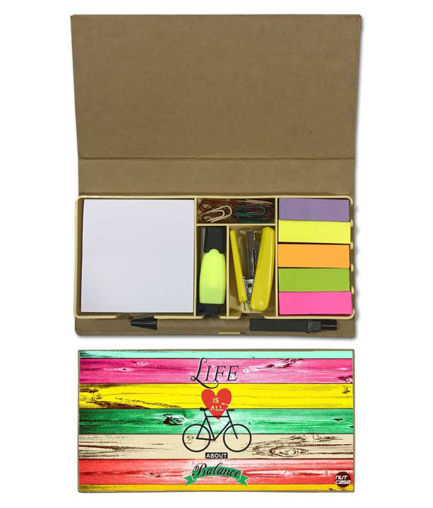 Nutcase Designer Stationary Kit Desk Customised Organizer Memo Notepad - Life Is All About Balance