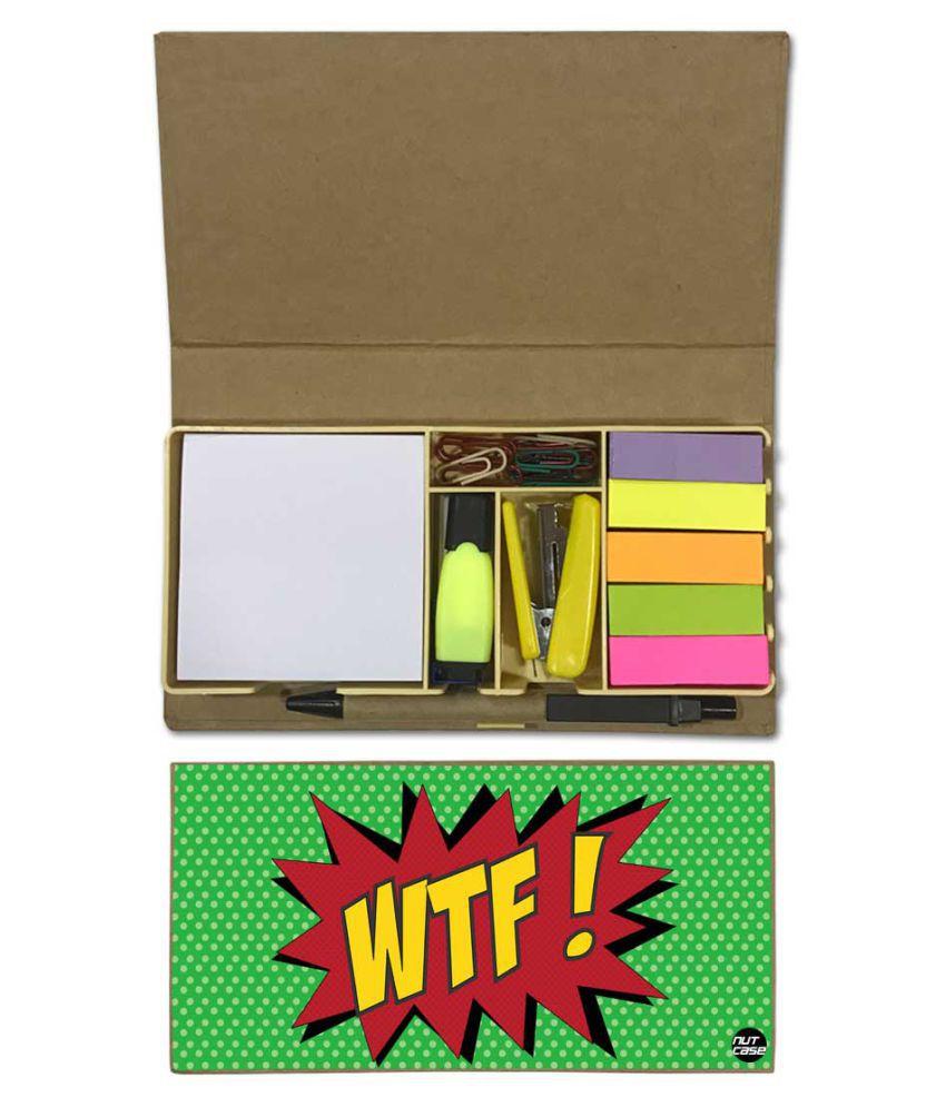 Nutcase Designer Stationary Kit Desk Customised Organizer Memo Notepad - Wtf