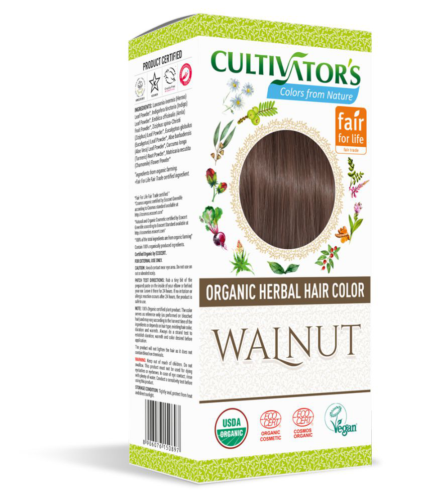 Cultivator's Organic Herbal Hair Color Semi Permanent Hair Color Brunette Walnut 100 gm