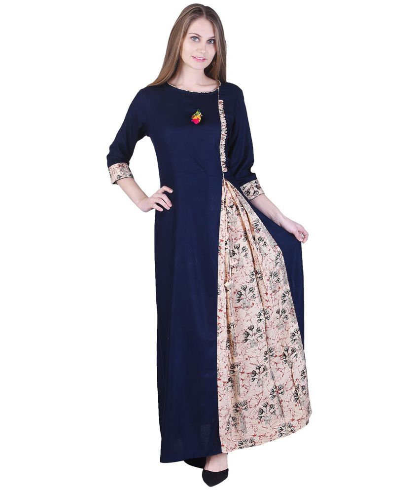 Adesa Blue Rayon Straight Stitched Suit