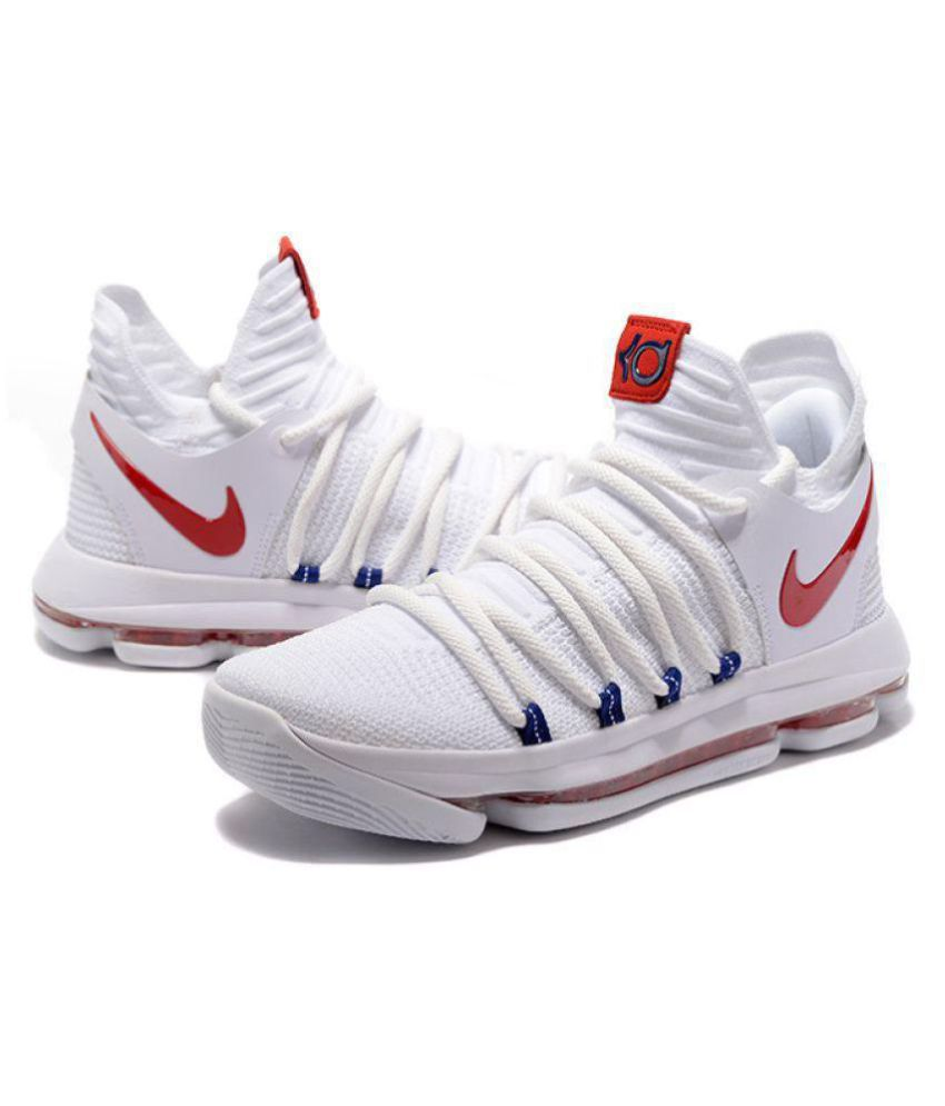 newest 4f722 1a130 Nike KD10 2018 WHITE-RED-BLUE White Basketball Shoes