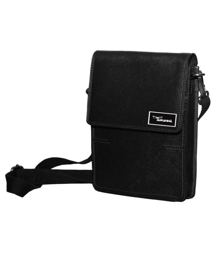 Tamanna LSBU17-TM_16 Black Leather Casual Messenger Bag