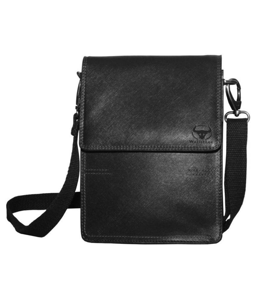 WalletLee LSBU17-WL_16 Black Leather Casual Messenger Bag