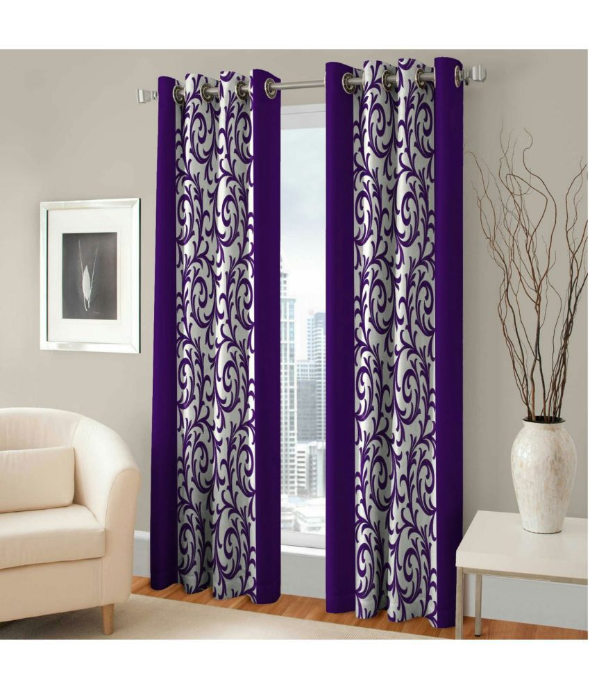 Swarnadeep Set of 2 Window Semi-Transparent Eyelet Polyester Curtains Purple