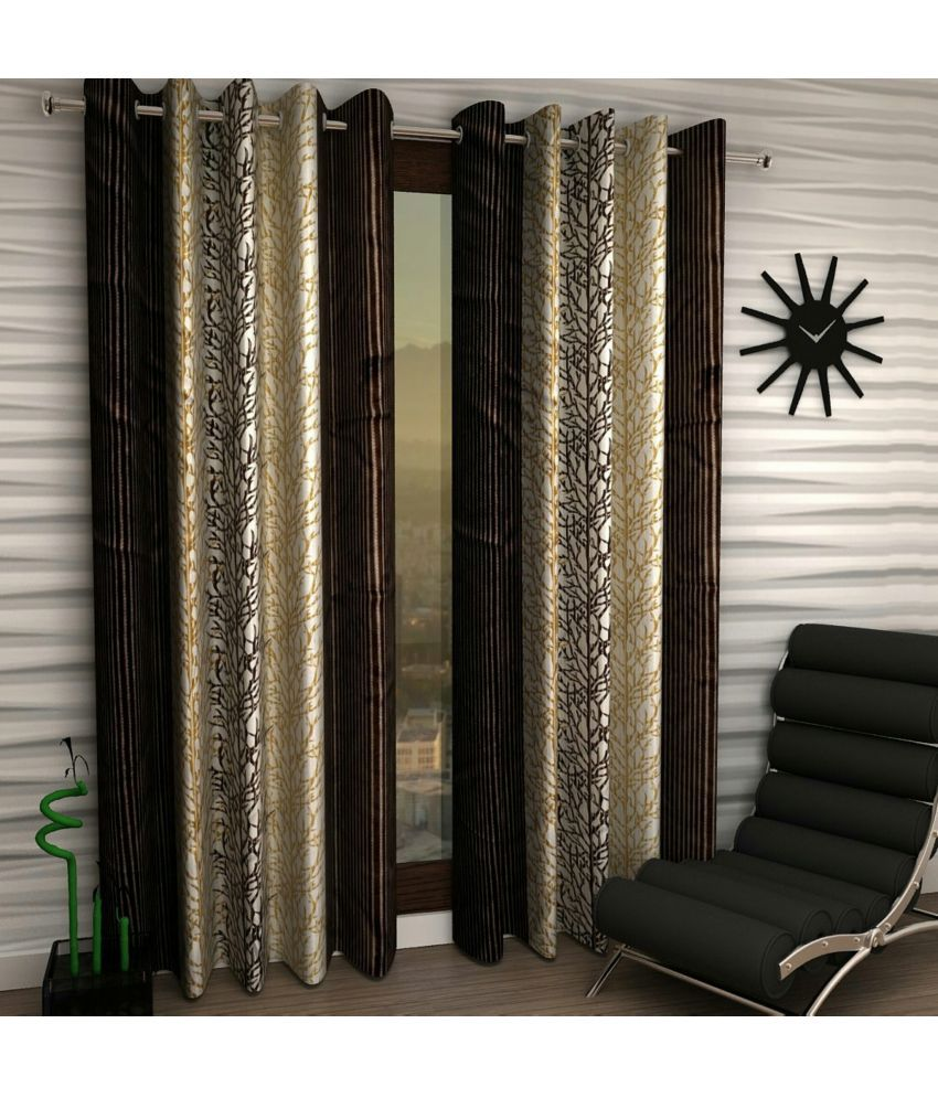 Swarnadeep Set of 2 Door Semi-Transparent Eyelet Polyester Curtains Brown