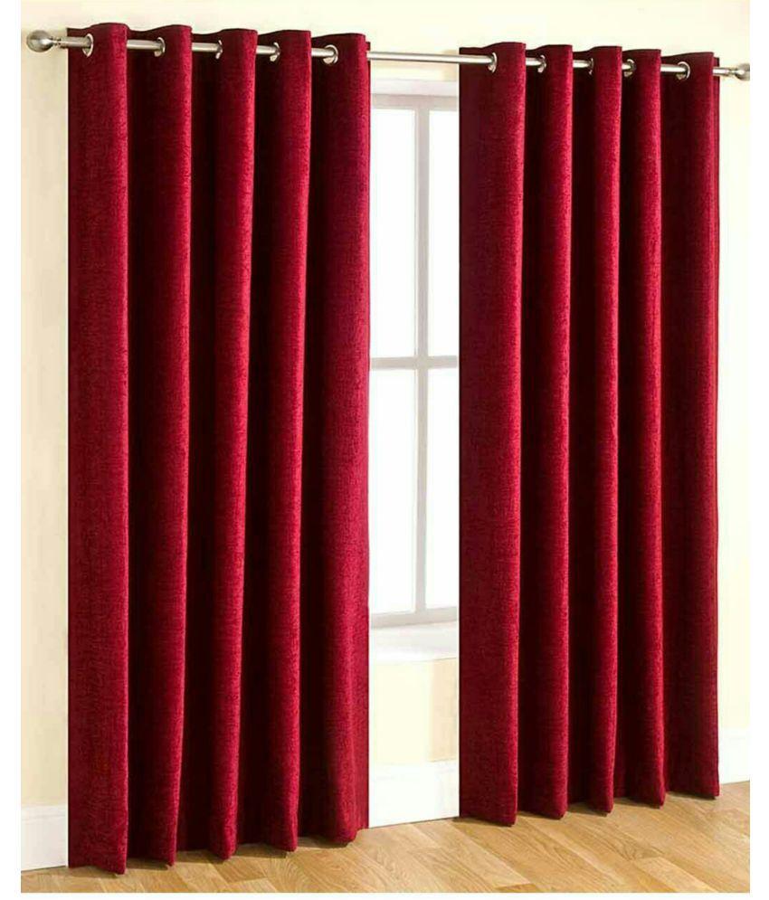 Swarnadeep Set of 2 Window Semi-Transparent Eyelet Polyester Curtains Red