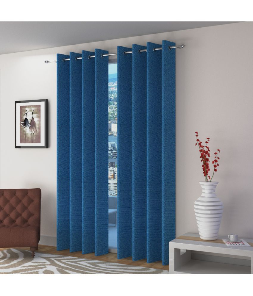 Swarnadeep Set of 2 Door Semi-Transparent Eyelet Jute Curtains Blue