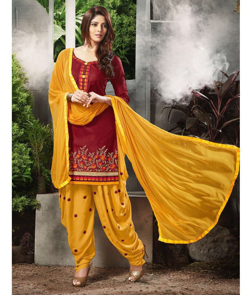 Diva N Diya Yellow and Brown Cotton Dress Material
