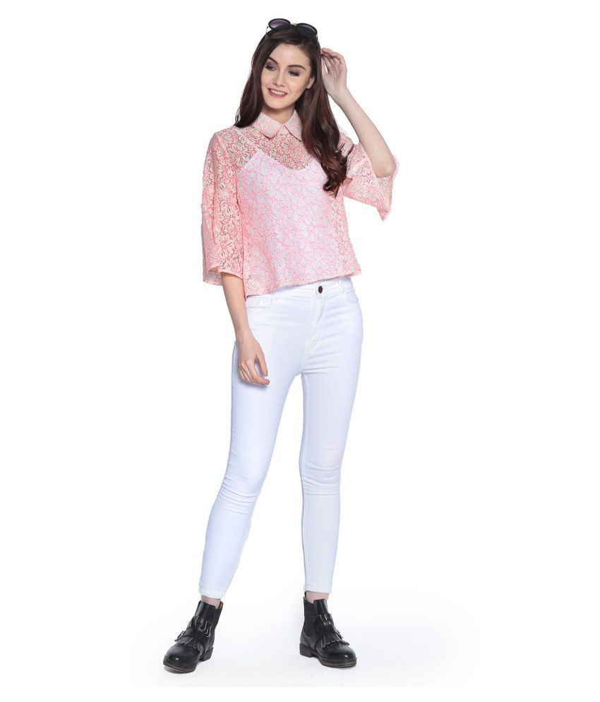 30b3219e0b78 Abiti Bella Lace Regular Tops - Pink - Buy Abiti Bella Lace Regular ...