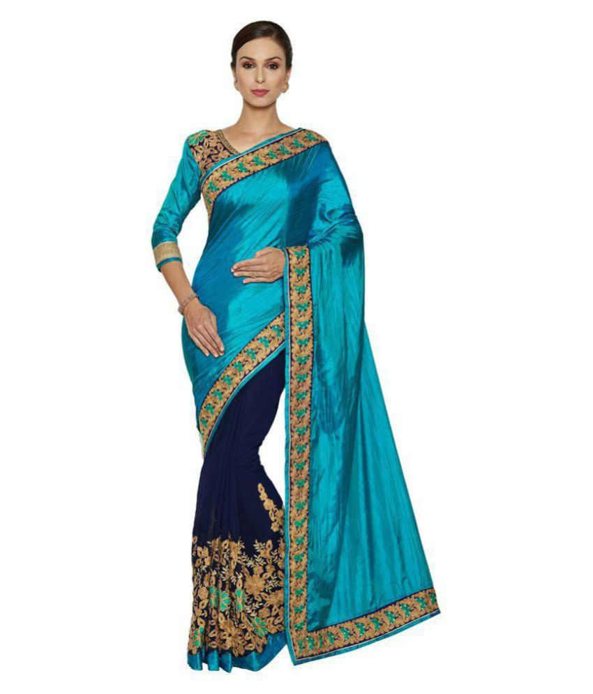 d461aaaae7 IndianEfashion Green and Blue Georgette Saree - Buy IndianEfashion ...