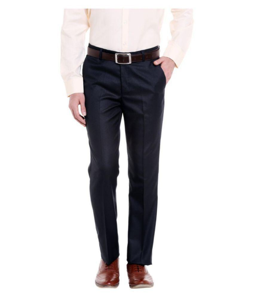 Solemio Navy Blue Regular -Fit Flat Trousers