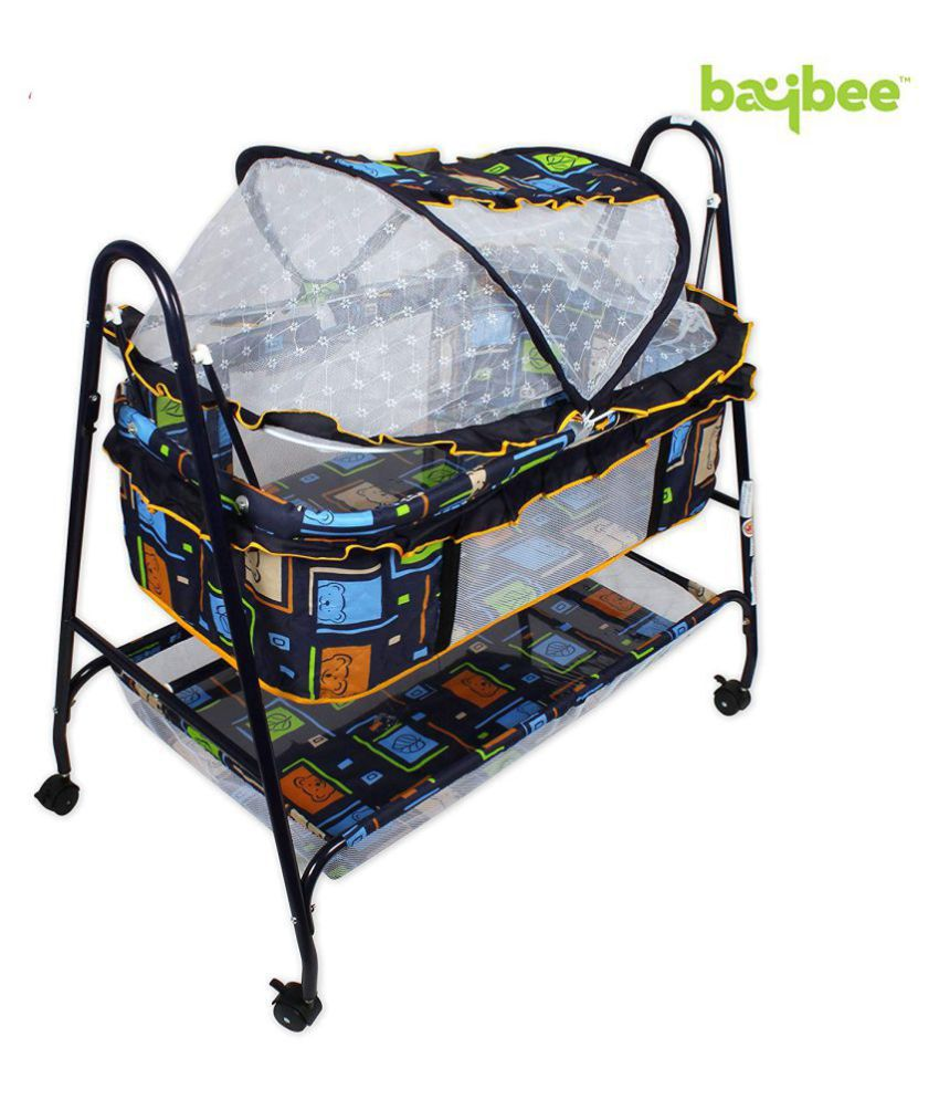 BAYBEE Baby Nest Lightweight and Transportable Swing Cradle with Mosquito Net-Canopy and Wheels (Black)