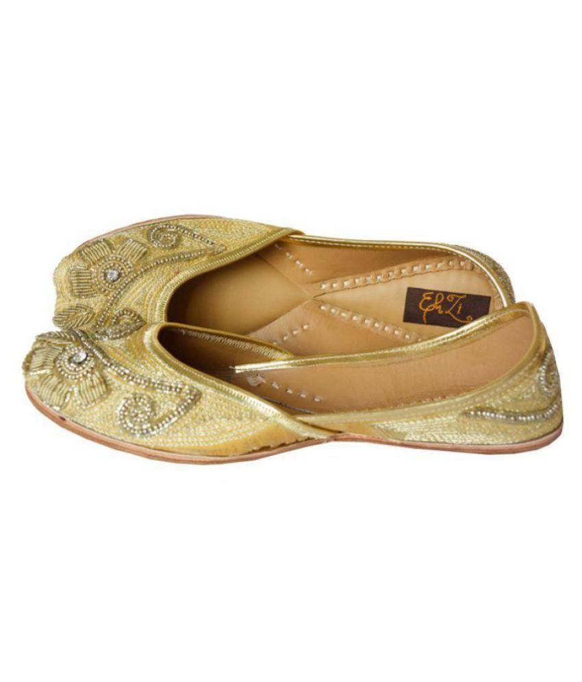 Ehzi Designs Gold Ethnic Footwear