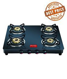 Prestige Marvel Black 4 Burner Glass Manual Gas Stove