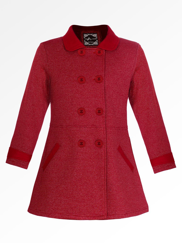 Naughty Ninos Girls Red Striped Fleece Front Open Jacket Girl Coat