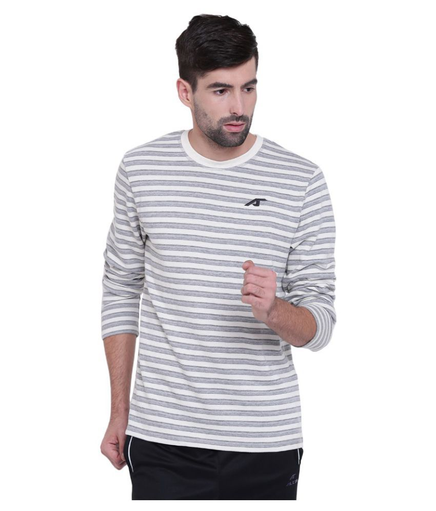 Alcis Mens Striped Off White Sweat Shirt