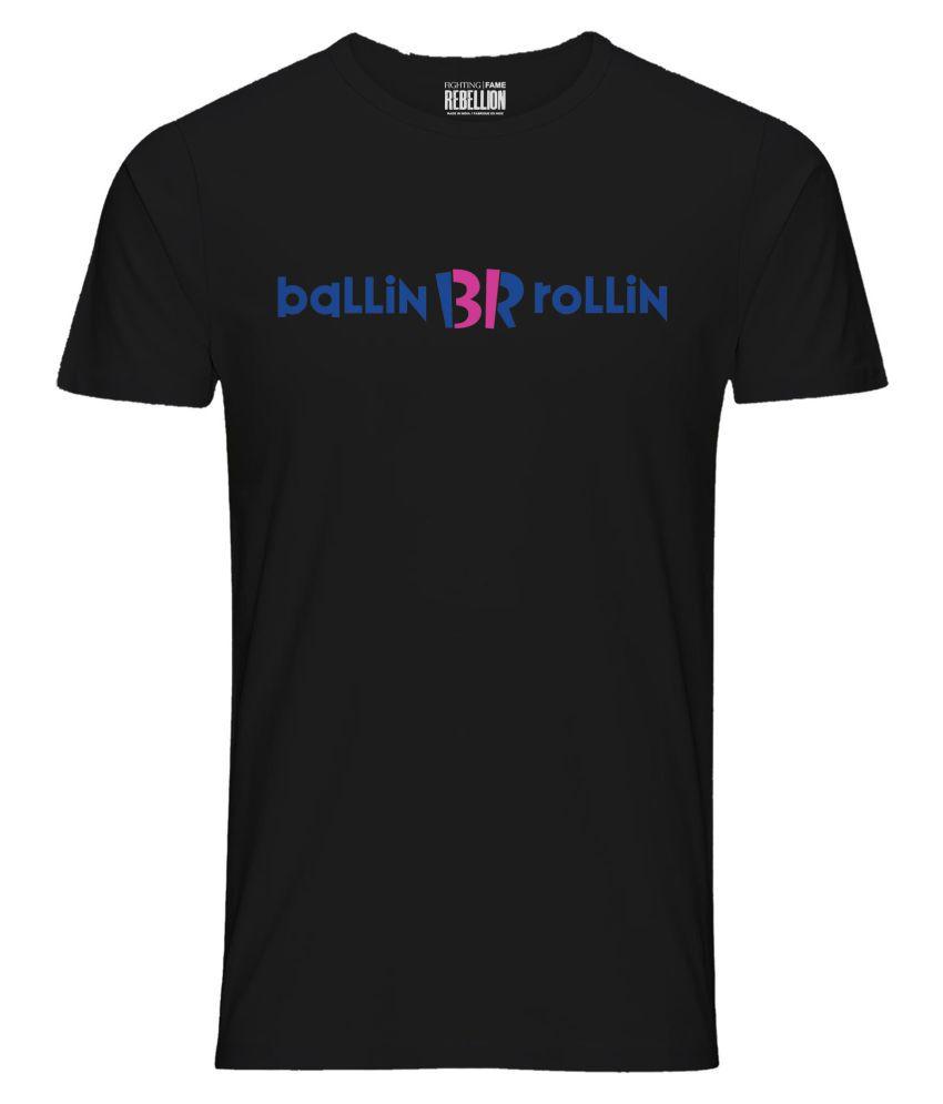 FIGHTING FAME Black Half Sleeve T-Shirt