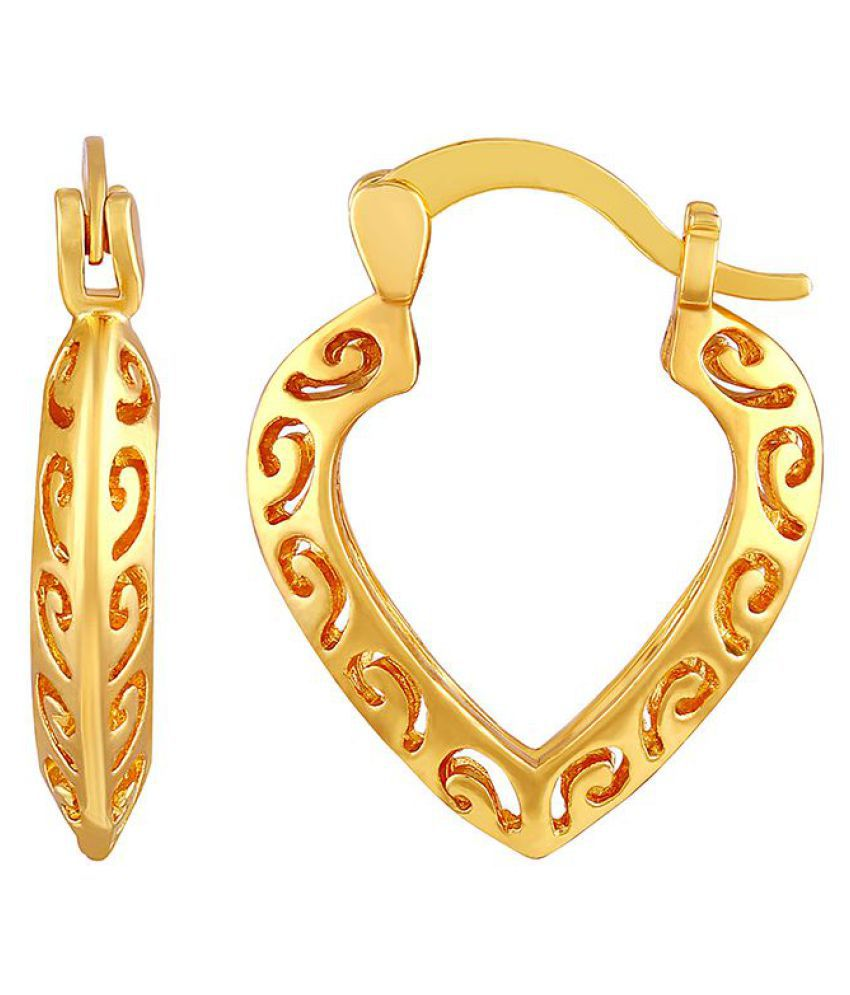 Asmitta Wavy Heart Shape Bali Hoop Gold Plated Earring For Women