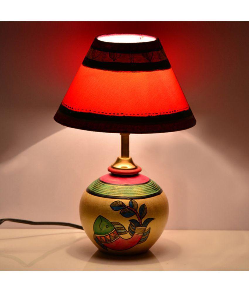 ExclusiveLane Handpainted With Madhubani Art Matki Shape in Terracotta Night Lamp Gold - Pack of 1