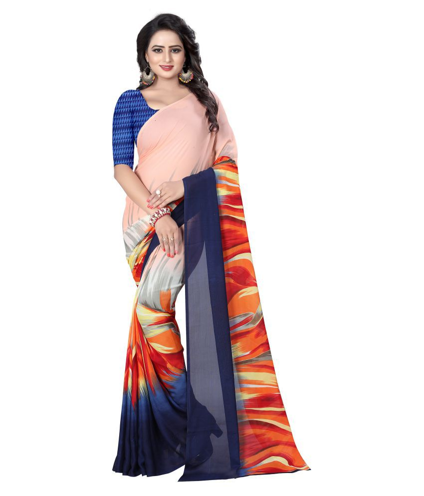 MKDigital Pink and Blue Georgette Saree